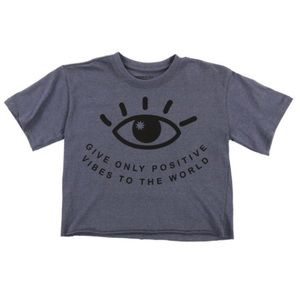 positive vibes' cropped graphic tee - gray